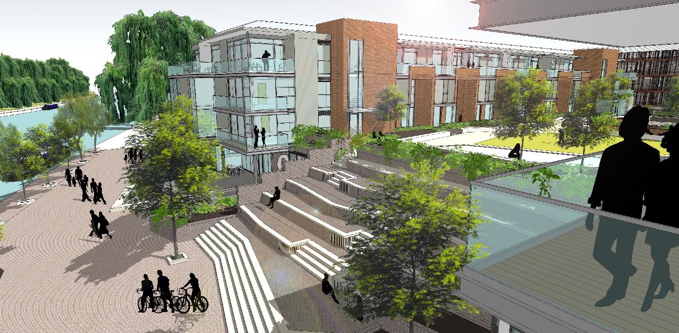 Designed image of flats for Fletton Quays
